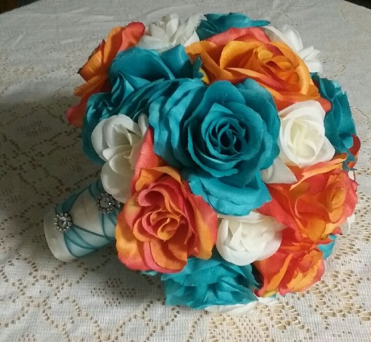 This Silk Wedding Bouquet Is Made With Turquoise And