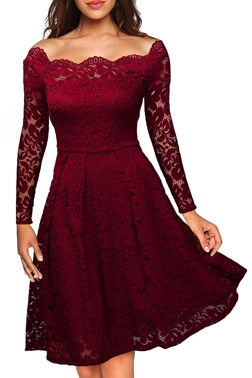 6ef0576a357 Robes Patineuses Rouges Dentelle Manches Longues Plisse Pas Cher  www.modebuy.com  Modebuy  Modebuy  Rouge  me  femmes  gros