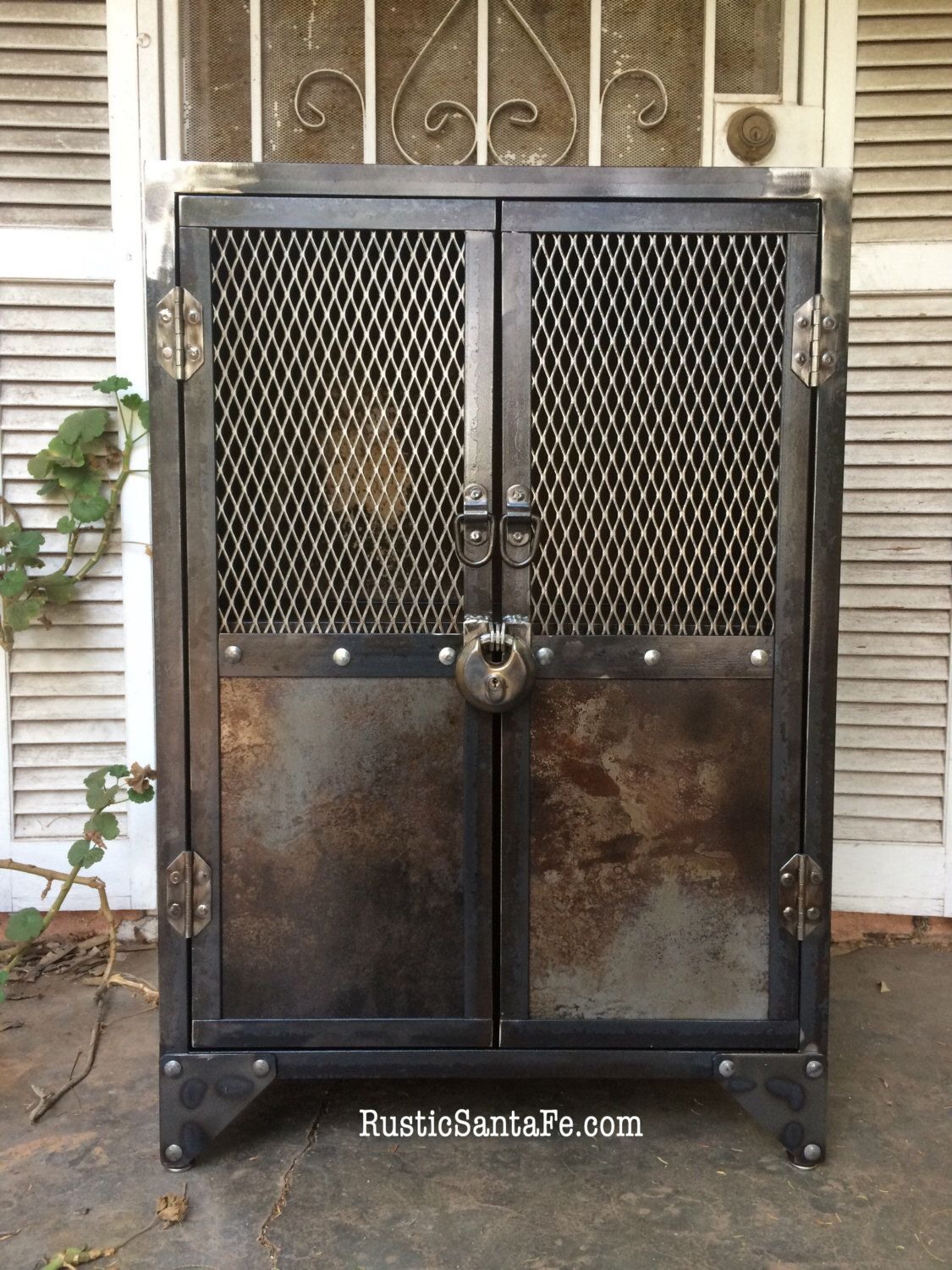 Genial Industrial Steel Locking Liquor Cabinet, Industrial Nightstand, Vintage  Locker, Rustic Cabinet, Wood And Metal Stand By RusticSantaFe On Etsy ...