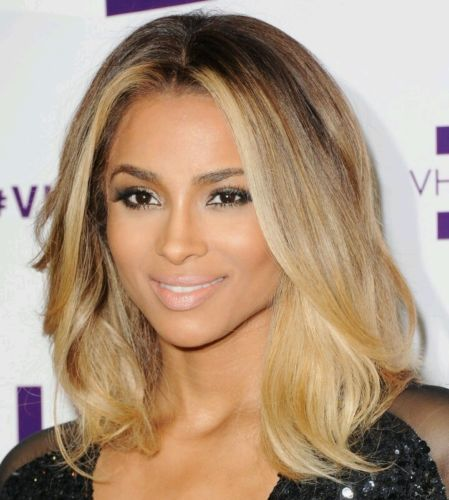 Stock Celebrity Ciara Lace Front Brazilian 2 Tone Wavy Ombre Human Hair Wig 5359768232ad