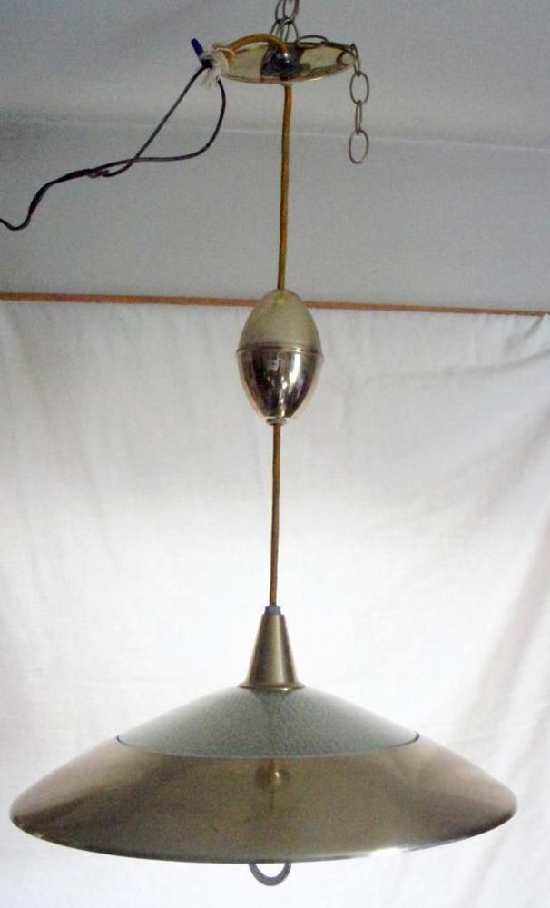 Atomic Space Age Mid Century Pull Down Retractable Ceiling Light