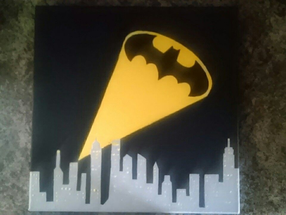 Easy Batman Art Project Painted On A Canvas Board Using