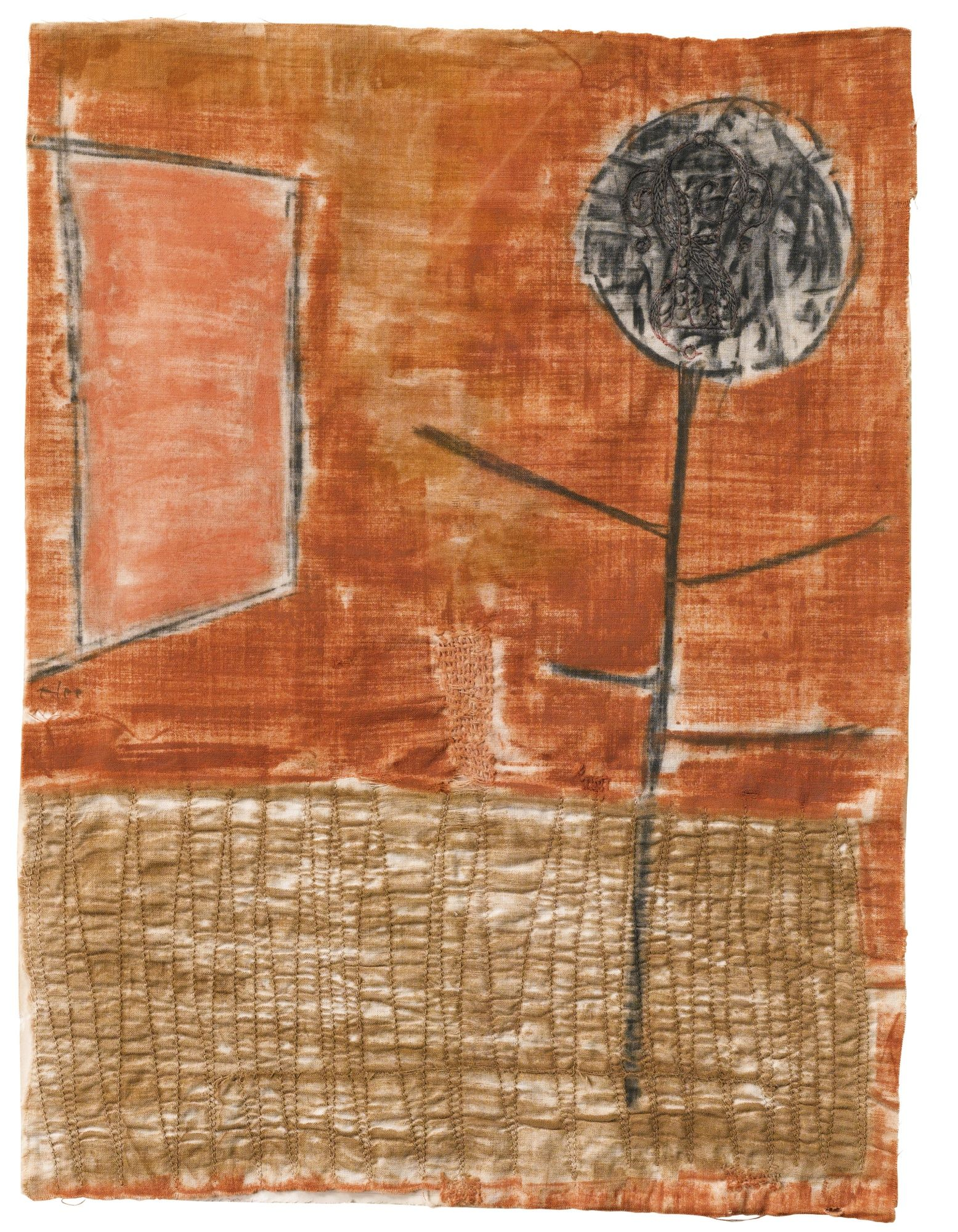 Paul Klee SPÄTHERBSTLICHE PFLANZE (PLANT IN LATE AUTUMN) signed Klee (centre left); dated 1934 K 15 and titled on a piece of the remaining artist's mount pastel on embroidered cloth 30 by 22.5cm., 11 3/4 by 8 7/8 in. Executed in 1934-35. Estimate 109,858 - 141,246USD LOT SOLD. 117,705 USD