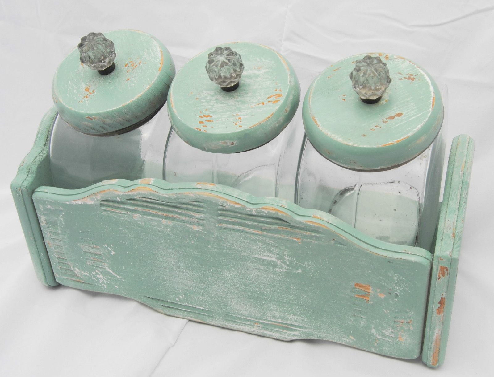 Vintage Upcycled Chippy Shabby Pale Aqua Set of Three Glass Kitchen ...