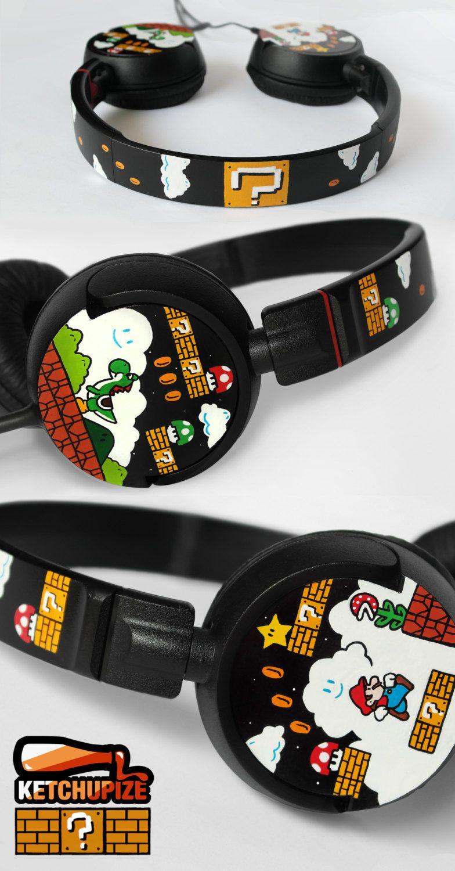 ecf208d3f3e Super Mario Headphones earphones hand painted - Yoshi - Piranha Plant -  Question block - 1UP Mushroom. €65.00, via Etsy.