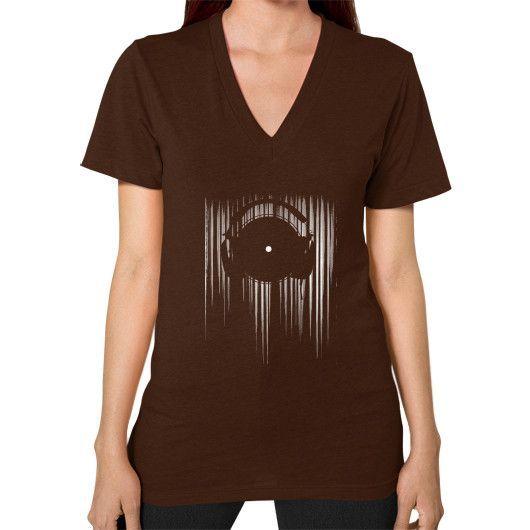 Vinyl music V-Neck (on woman)