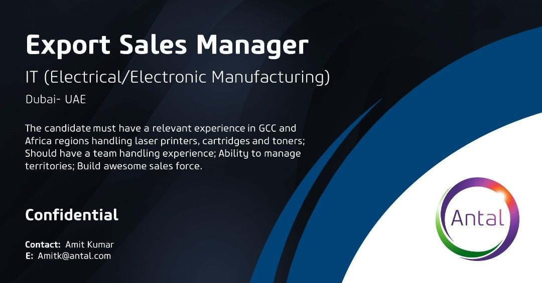 We are recruiting for a Export Sales Manager for our