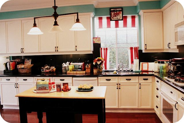 Kitchen Red With Tealaquaturquoise Accents Pop Of Pink Orange