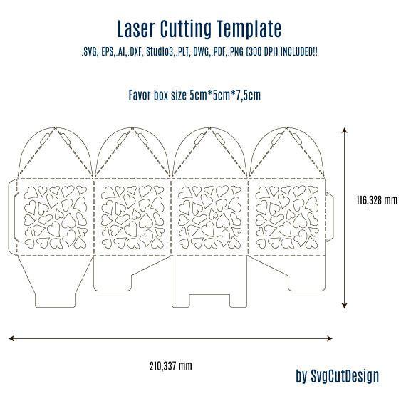 Caja de la boda a favor plantilla con corazones corte for Free laser cutter templates