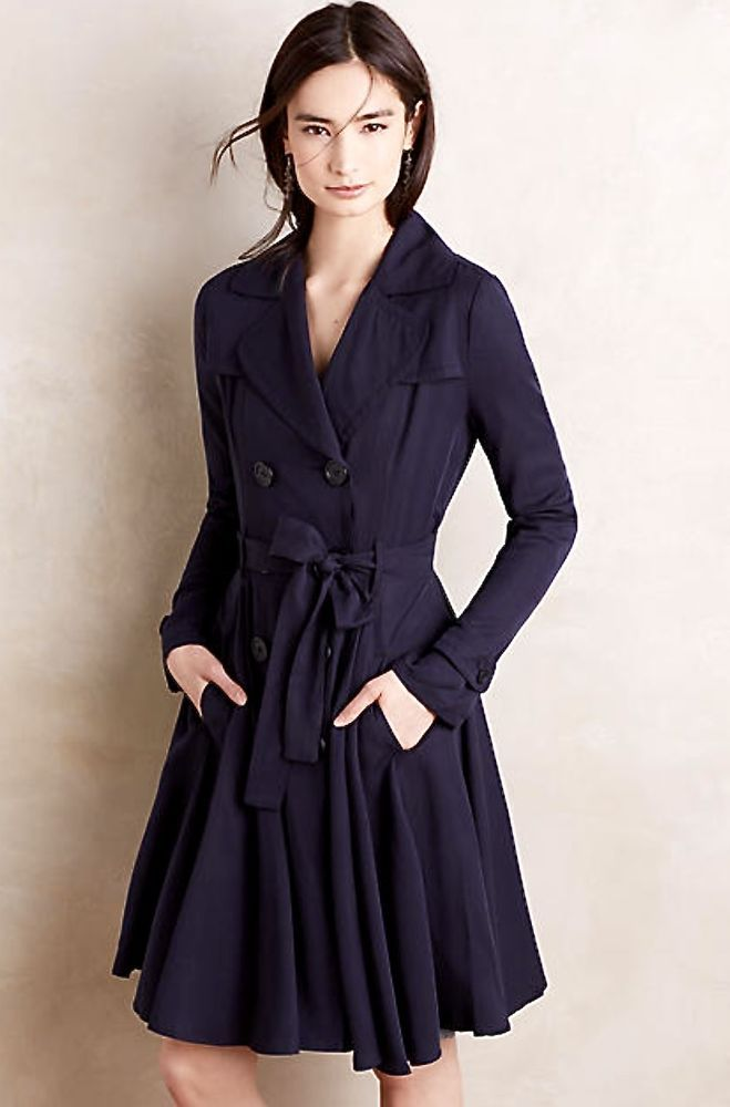 NWT Anthropologie DRA navy blue fit & flare belted Fayette Trench ...
