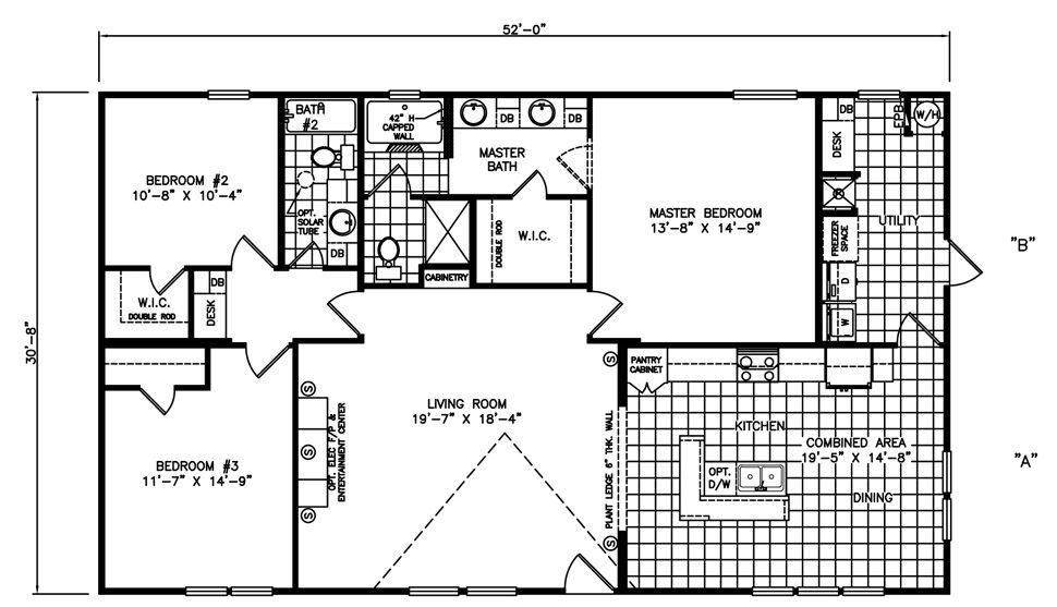 Floorplan Of The Riviera A 4 Bed 2 Bath 32x52 Manufactured Home Featuring An Open Floor Plan Kitchen Island Wi Manufactured Home Floor Plans Double Wide Home