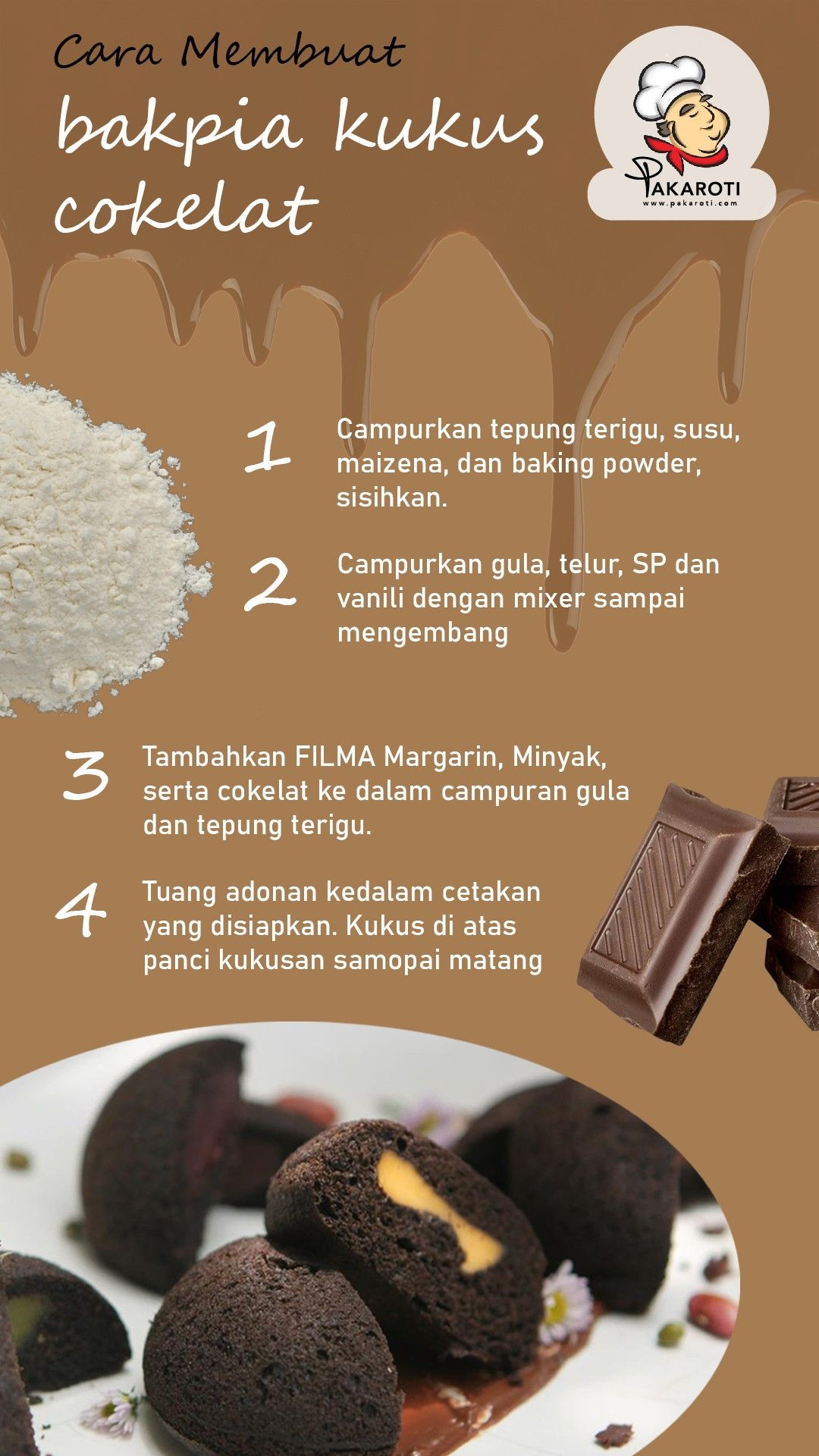 Cara Membuat Bakpia : membuat, bakpia, Membuat, Bakpia, Kukus, Cokelat, Makanan, Penutup, Mini,, Makanan,, Resep, Masakan, Natal