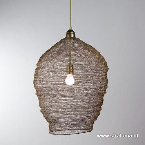 Metalen gaas hanglamp Nikki mat goud - www.straluma.nl | Verlichting ...