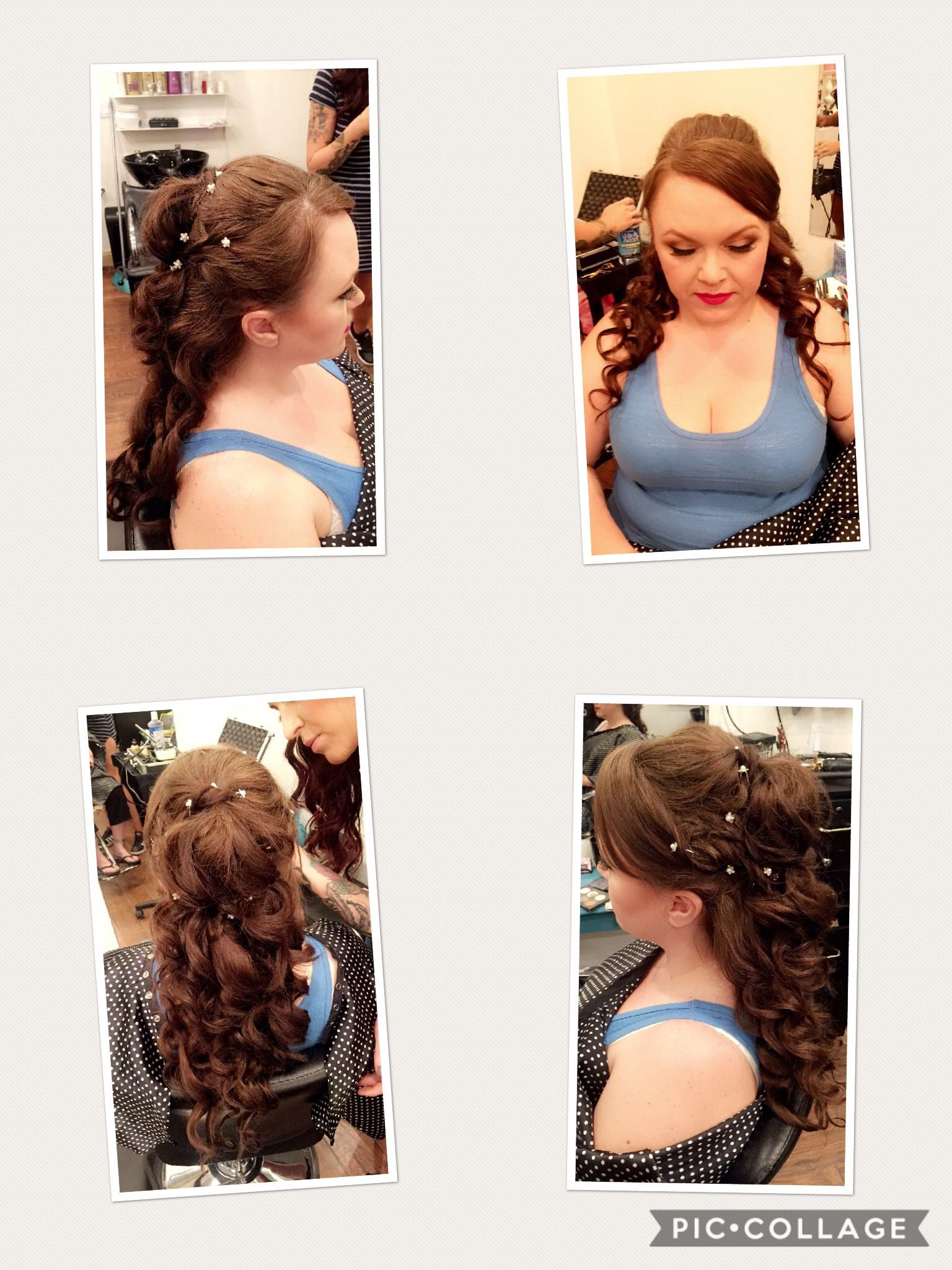 Half up half down wedding do! Cascading curls with bling ❣ | Hair ...