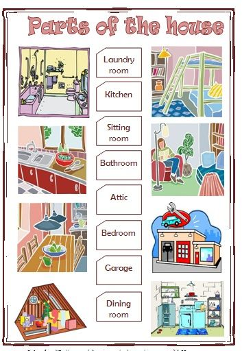 House Rooms Worksheet: Parts Of The House Elementary Worksheet