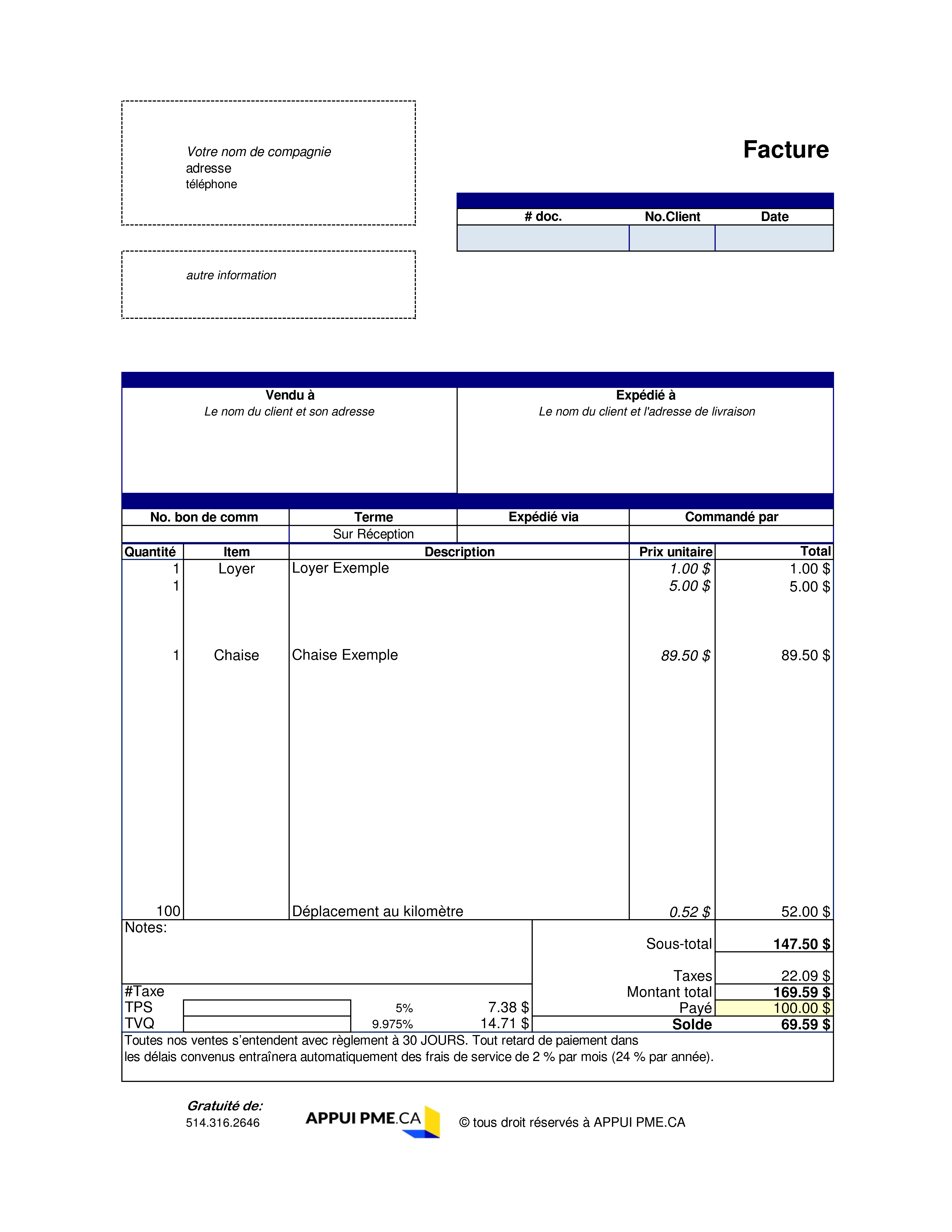 modele facture quebec word | Modele facture, Modèle de ...