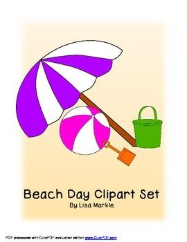 Summer Beach Day Clip Art Set For Commercial Use