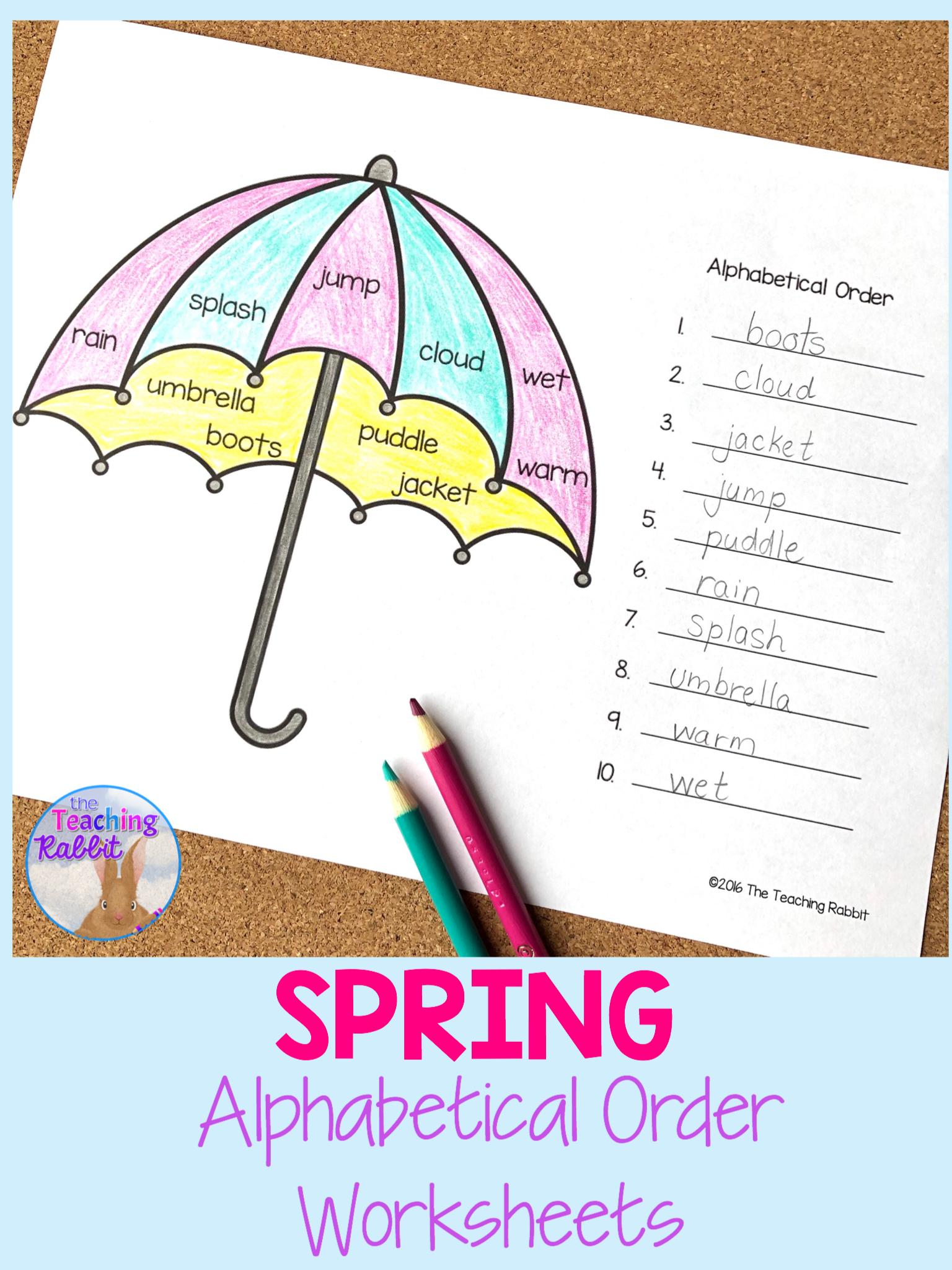 Alphabetical Order Worksheets Spring In
