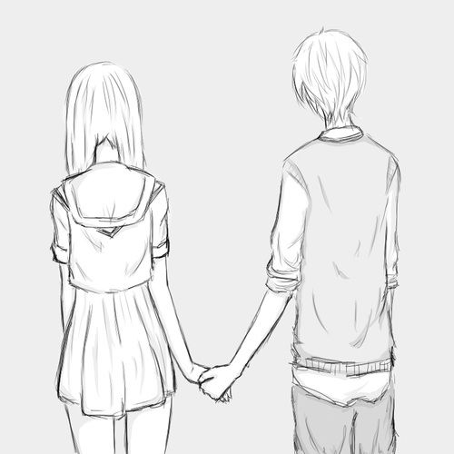 Anime couple holding hands