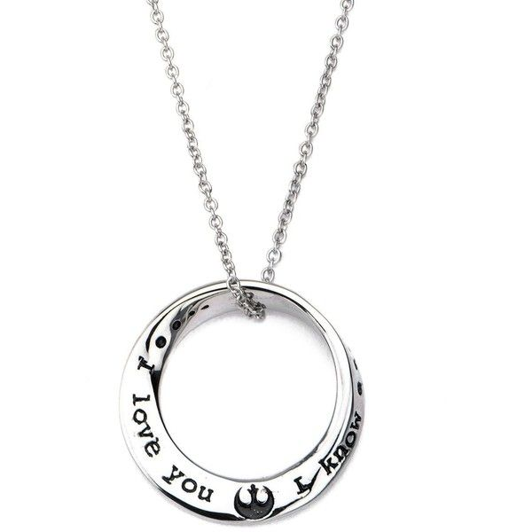 Star Wars I love you I know Mobius Necklace Stainless Steel Silver (42 AUD) ❤ liked on Polyvore featuring jewelry and necklaces