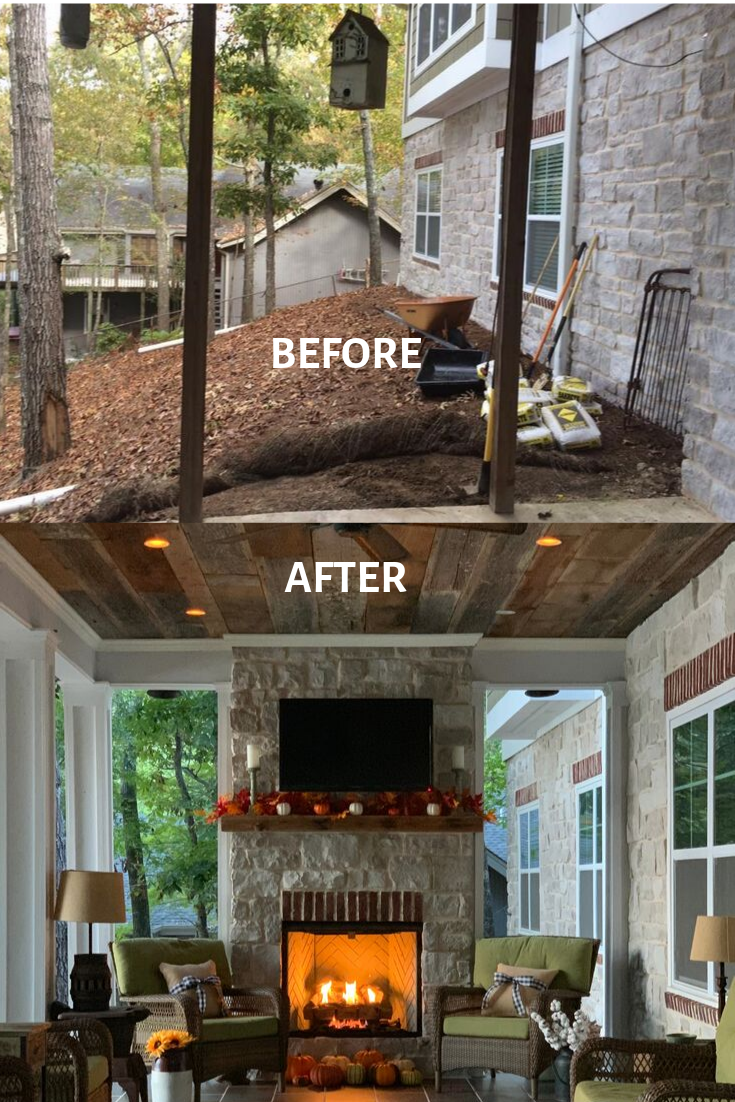 A few years ago, we built an outdoor fireplace on our patio porch overlooking the lake. We are not experts but have learned to do DIY projects. We love the rustic look of the stone. We love cozying up to our fireplace. Check out our how-to instructions. #outdoor #fireplace #patio #DIY #build #outdoorfireplace #howto #porchideas #fireplace #firepit