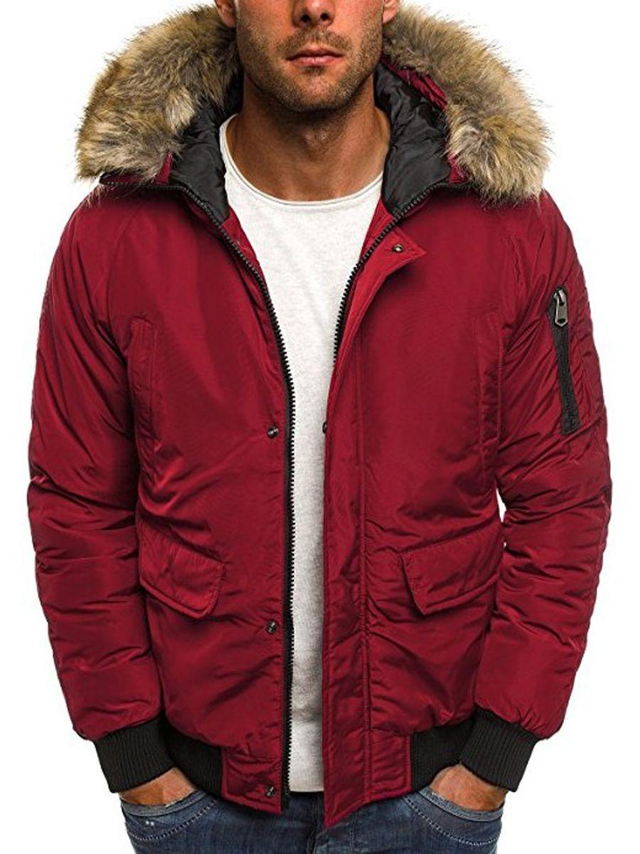 Fur Hooded Zipper Solid Color Thicken Warm Pocket Slim Men S Bomber Jacket Mens Winter Coat Bomber Jacket Men Jackets [ 1200 x 900 Pixel ]