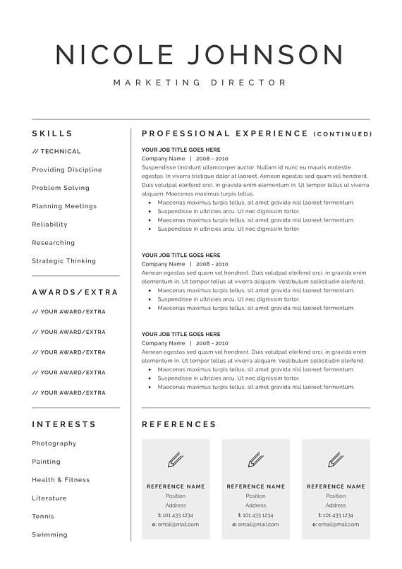 Resume Template 3 page CV Template + Cover Letter for MS Word - example cover letter resume