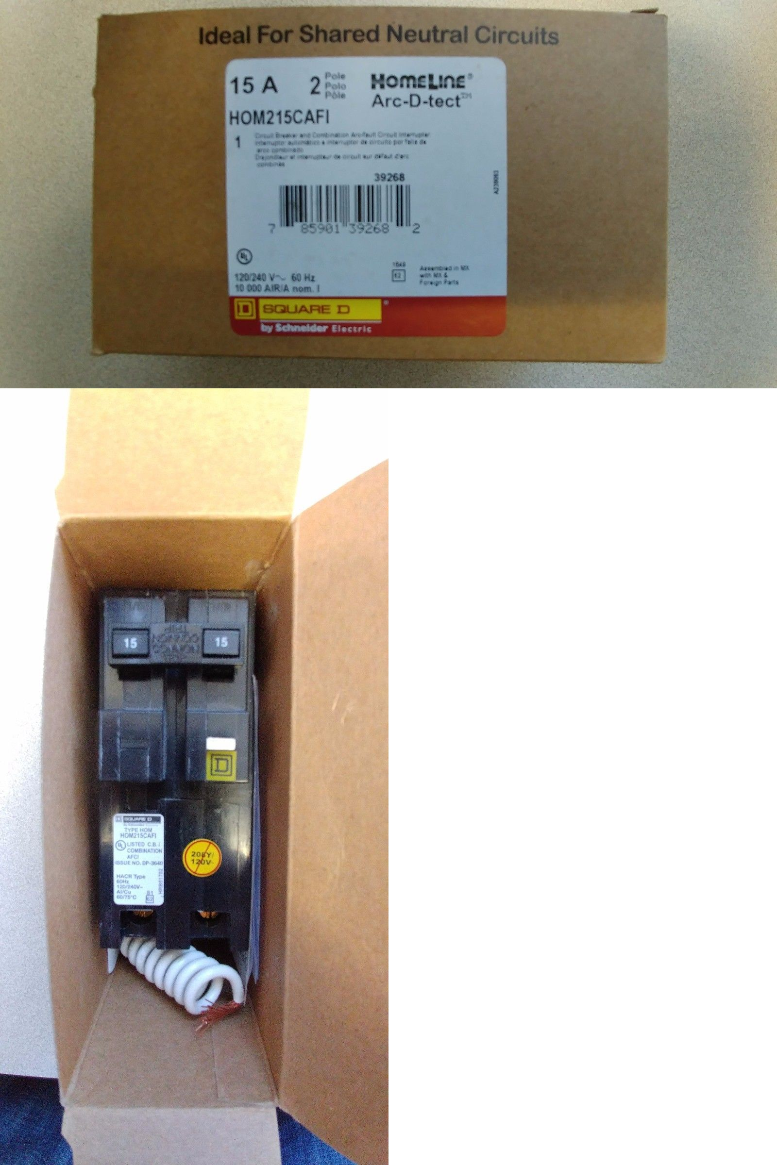 Circuit Breakers And Fuse Boxes 20596 New Square D Hom215cafi Or Afci Breaker Box Including Ge Hom220cafi 2 Pole Arc