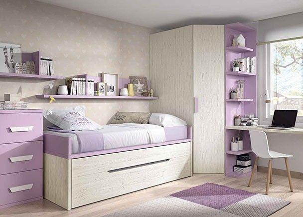 Habitacin infantil con dos camas y armario rincn en