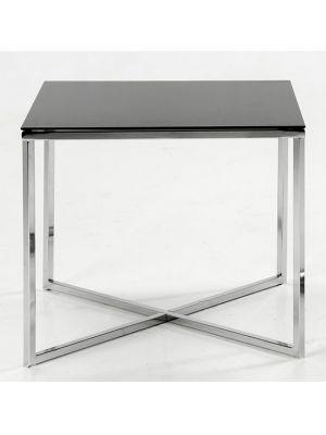 Bijzettafel Glas Chroom.Mono Bijzettafel Zwart Glas Met Chroom Home Furnalize