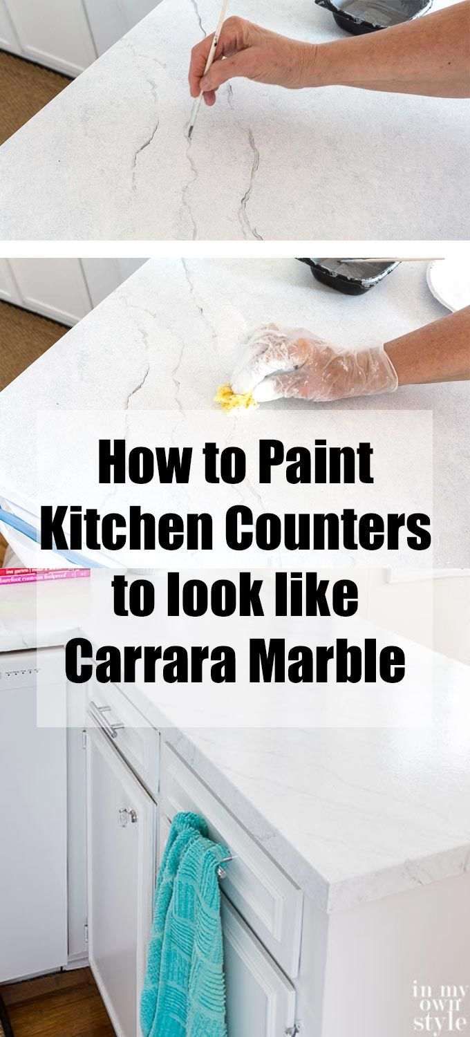 Kitchen countertop painting to look like white Carrara marble. Giani ...