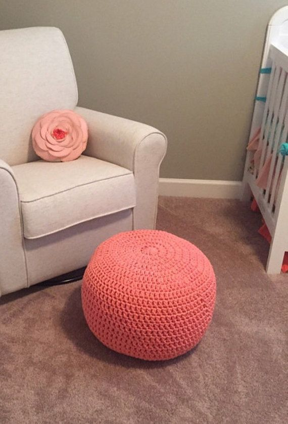Terrific Coral Pink Round Nursery Pouf Ottoman Footstool For Girls Machost Co Dining Chair Design Ideas Machostcouk