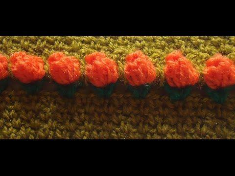 patrón crochet punto tulipanes y punto entretejido ganchillo fácil ...