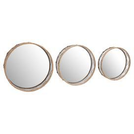 """Add artful appeal to your entryway or living room with this eye-catching mirror set, showcasing rope frames and round silhouettes.  Product: Small, medium and large wall mirrorConstruction Material: Metal, rope and mirrored glassColor: SilverFeatures: Rope accentsDimensions: Small: 18"""" Diameter x 5"""" DLarge: 22"""" Diameter x 6"""" D"""