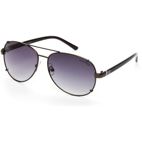 d990384e9ff8f Tommy Hilfiger Ruthenium-Tone Bradshaw Aviator Sunglasses ( 20) ❤ liked on  Polyvore featuring accessories