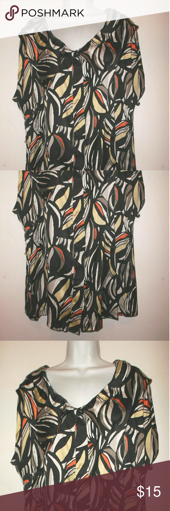 Nordstrom Semantiks Stretch Silk Blouse 16W A beautiful stretch silk blouse.   Women's plus size 16W.   93 % Silk,  7 % spandex fabric.   Has a wide collar and hidden buttons down the front.   There are thread belt loops but no belt is included.   Nice pre-owned condition!   Measures 25.5 inches across the front from underarm to underarm.   29 inches shoulder to bottom hem Semantiks Tops Blouses