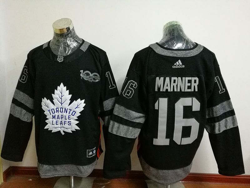 Men s Toronto Maple Leafs  16 Marner Black 100TH Anniversary Hockey Jerseys 70f3a4dca