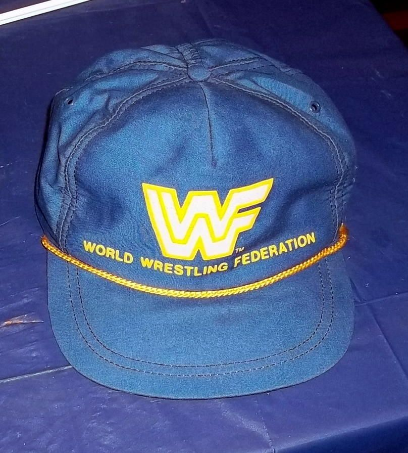 Vintage WWF Wrestling Hat Block Logo String 80s RARE Catalog Live Event WWE  WCW  615b730575aa