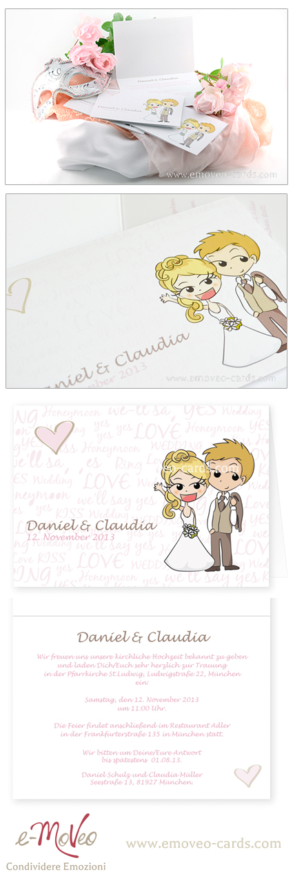 Partecipazioni Matrimonio Caricature.Comic Style Wedding Invitation Partecipazione Matrimonio Con