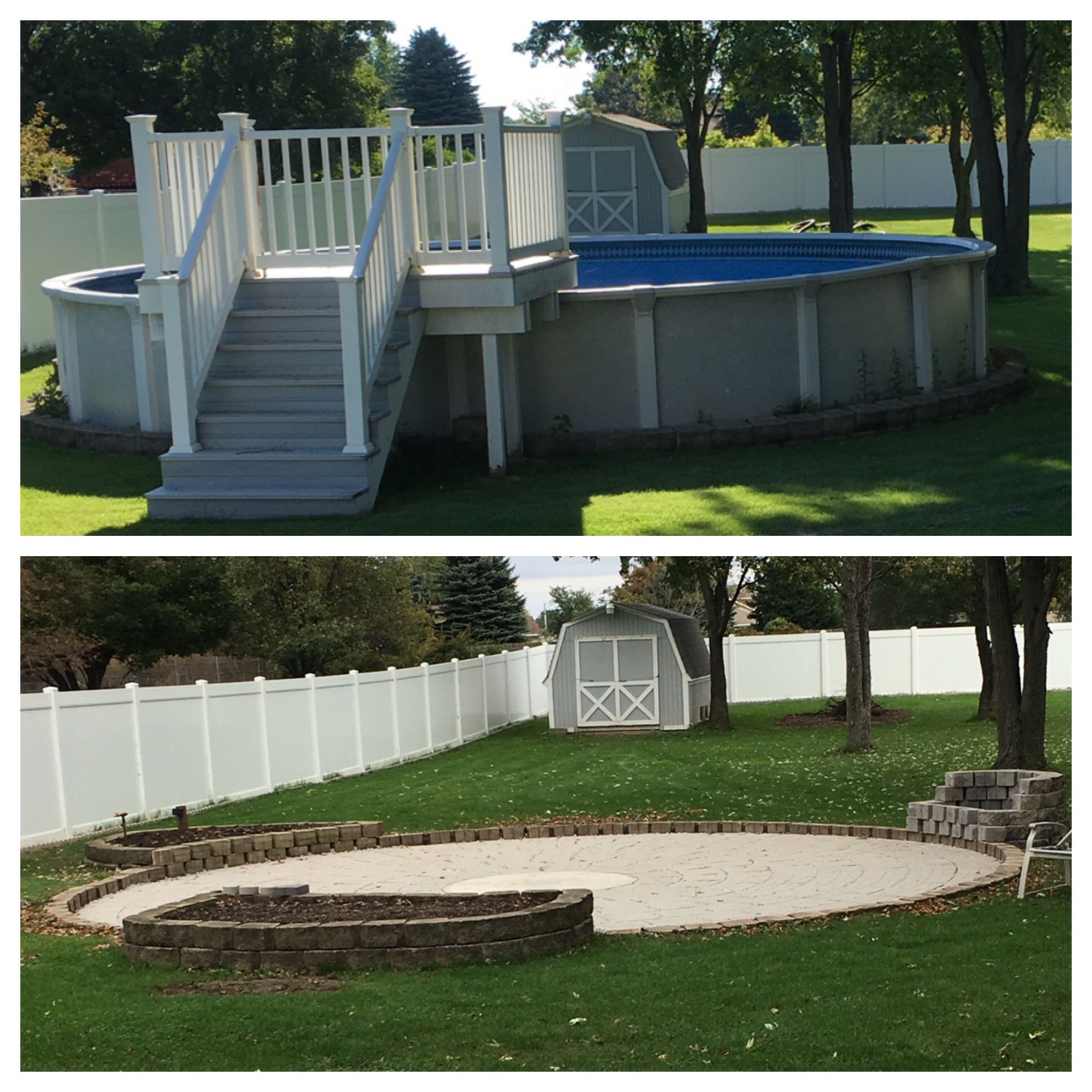 I Converted My Above Ground Pool Into A Beautiful Patio With A Fire Pit And 2 Raised Flower Be Backyard Pool Landscaping Pool Landscaping Backyard Landscaping