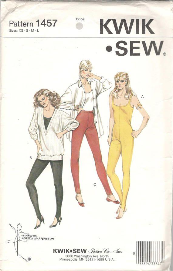 Kwik Sew 1457 1980s Misses Stirrup Unitard and Pull On Pants Pattern ...
