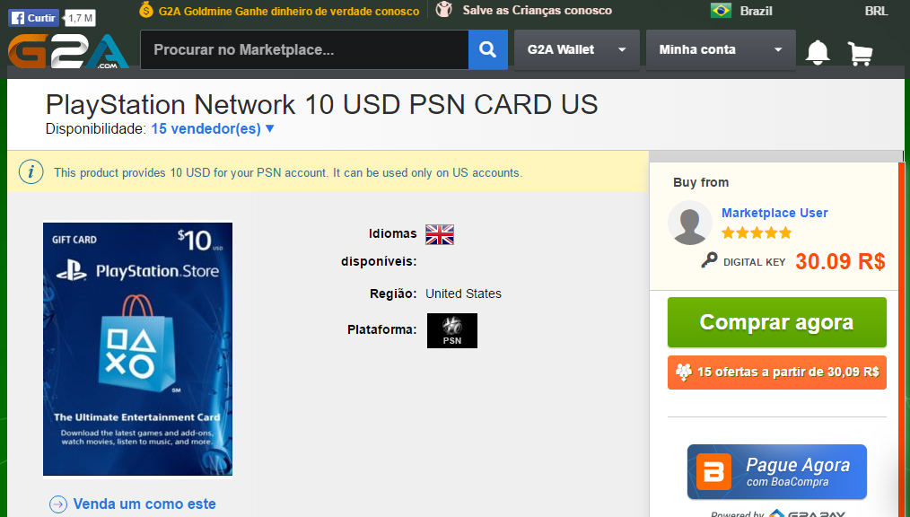 [G2A] PSN card US 10USD 30.09 reais
