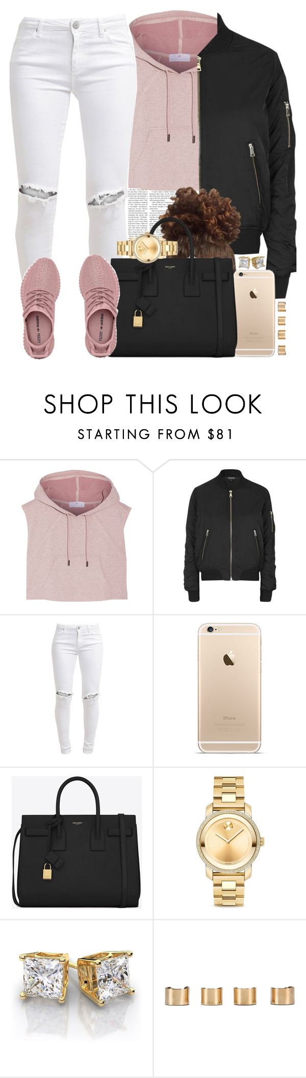 """""""Pink Yeezys (the best ones I've seen tbh)"""" by livelifefreelyy ❤ liked on Polyvore featuring adidas, Topshop, FiveUnits, Yves Saint Laurent, Movado and Maison Margiela"""