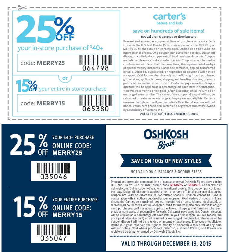 Ends: 12/31/18 Exclusions: Present and surrender coupon at time of purchase only at Carter's or OshKosh B'gosh stores in the U.S. and Puerto adoption-funds.ml codes are not valid on international orders. One coupon per customer per day. Dollar-off discounts .