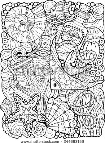 Vector coloring book for adult summers sea colorier for Summer coloring pages for adults