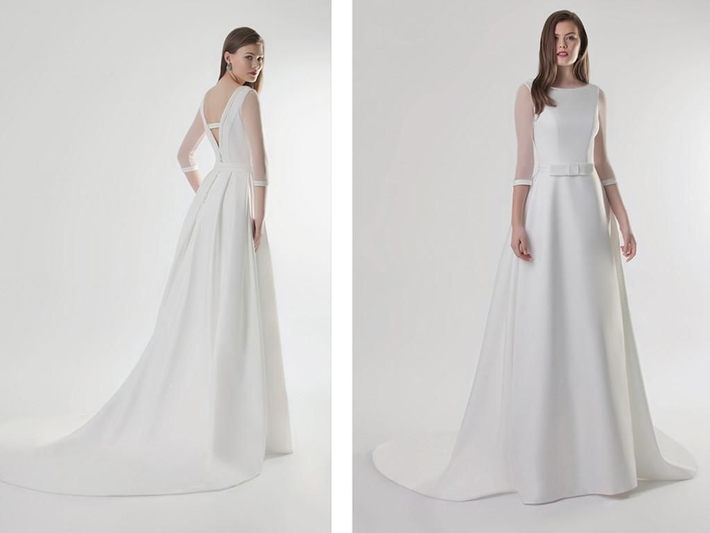 Vera Wang Bridal Gowns Simple 3/4 Long Sleeveless Crystal Wedding Dresses 2015 New A Line Wedding Dresses With Sash And Bow Scoop Beach Bridal Gowns With Taffeta Destination Wedding Dresses From Yahmet, $157.07| Dhgate.Com