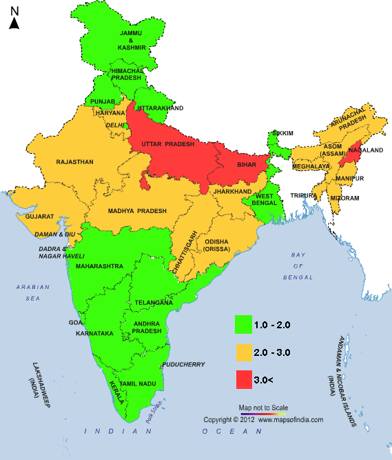 india maps and views Map India S Fertility Rate By State India Map India Facts Map india maps and views
