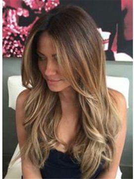 Sexy Long Wavy Layered Human Hair Women Lace Front