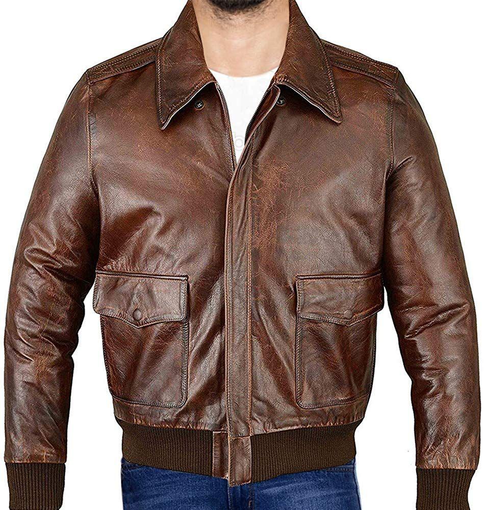 Men S Air Force A 2 Leather Flight Bomber Brown Jacket Air Force Bomber Jacket Mantel Oberbekleidung Leder [ 1000 x 953 Pixel ]