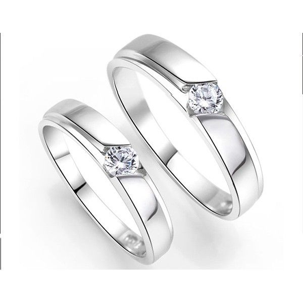 inexpensive his and her couples wedding ring bands with cz on silver sale - Affordable Wedding Rings Sets